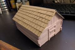 Fully constructed cabin. Shingles suck. I have since found a better method, but I need to invest in a hot wire table for that.